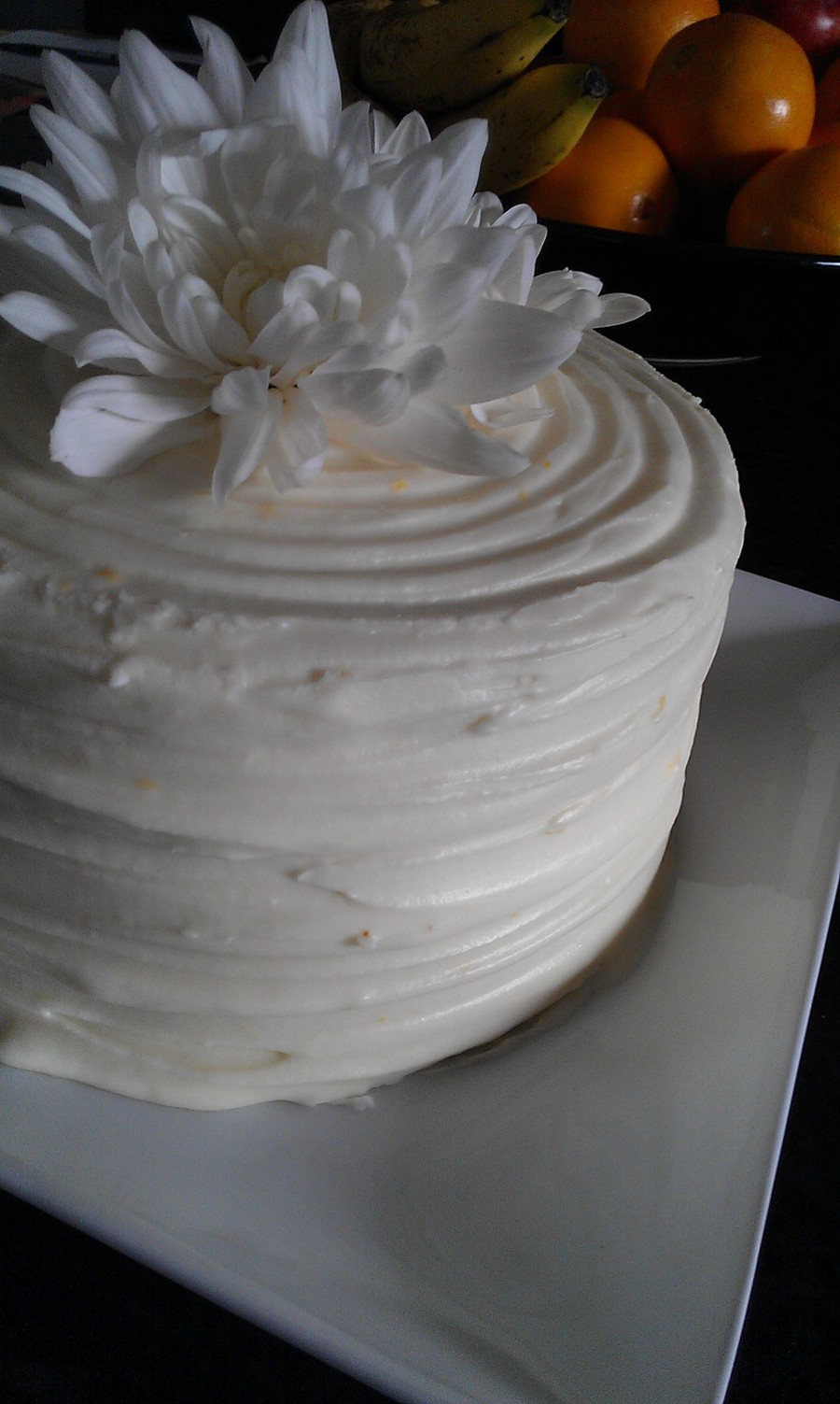 6 Honey Orange Spice Cake Sprinkled With Triple Sec And Frosted With Orange Vanilla Cream Cheese Frosting Topped With Fresh Chrysanthemum on Cake Central