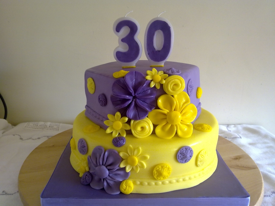 Yellow And Purple Birthday Cake on Cake Central