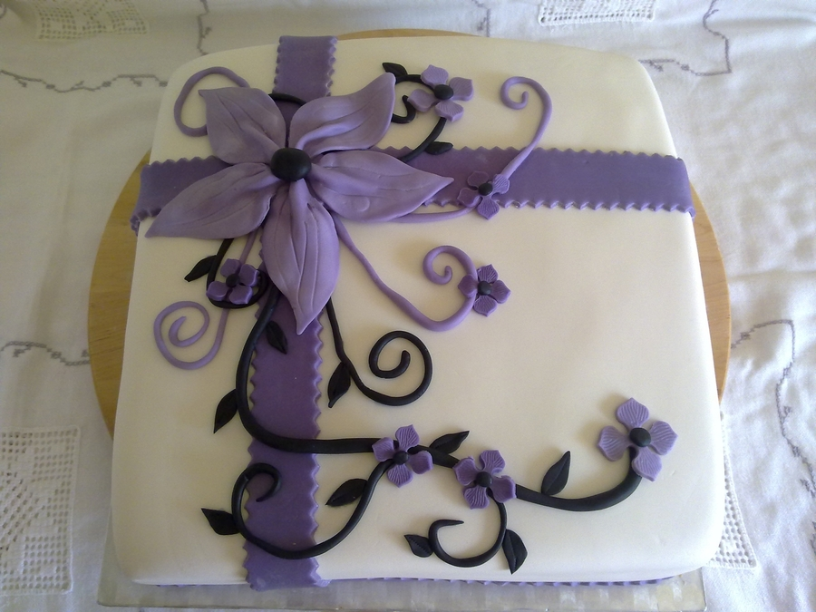 Black And Purple Birthday Cake on Cake Central