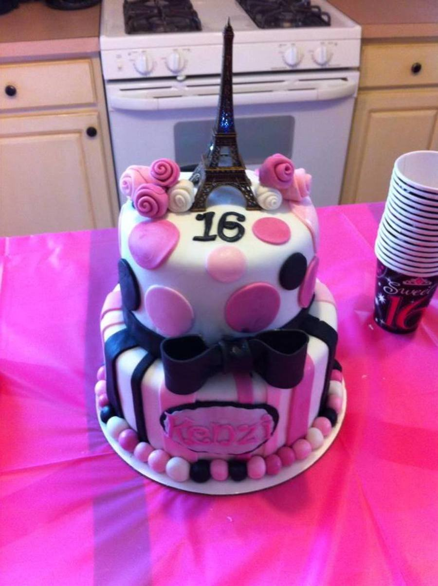Sweet 16 Paris Themed Cake With Stripes Polka Dots Roses