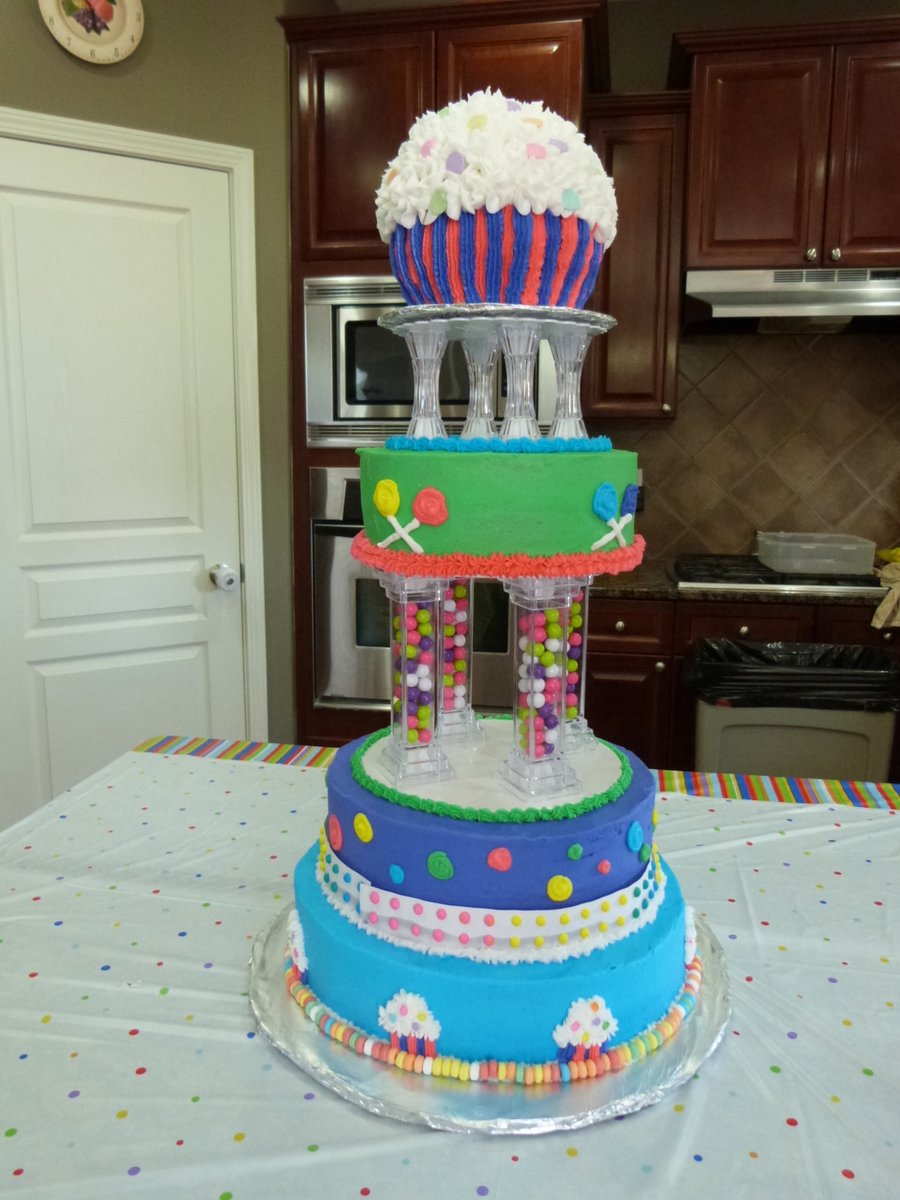 Candy Themed Cake For A First Birthday Party Cupcake On Top Used For Smash Cake on Cake Central