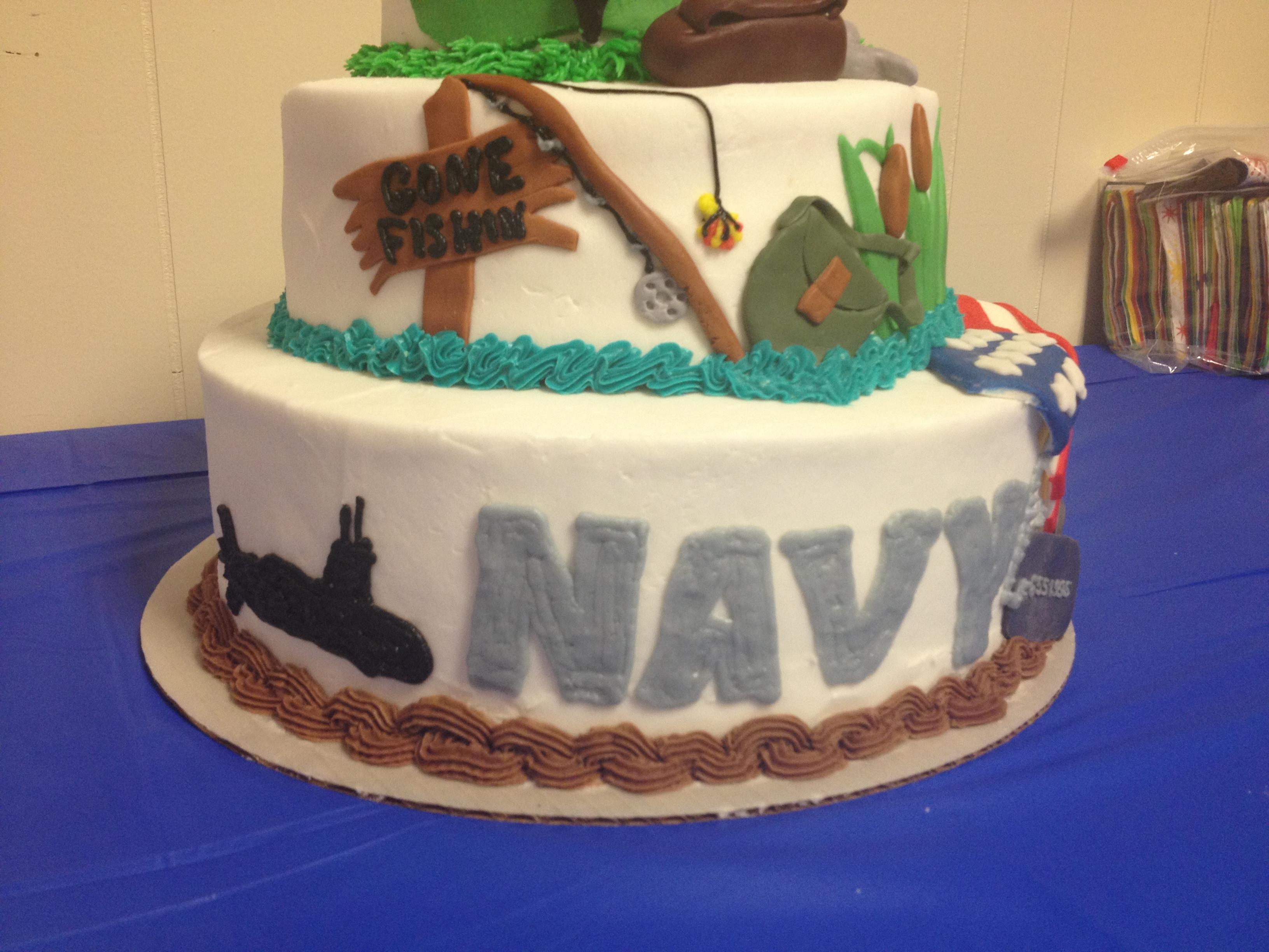 Fine 90Th Birthday Cake With Navy Tier Fishing Tier And Golf Tier Funny Birthday Cards Online Inifodamsfinfo