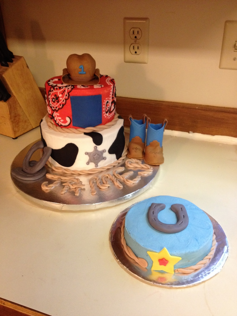 Groovy Cowboy Themed First Birthday Cake With Smash Cake Cakecentral Com Funny Birthday Cards Online Alyptdamsfinfo