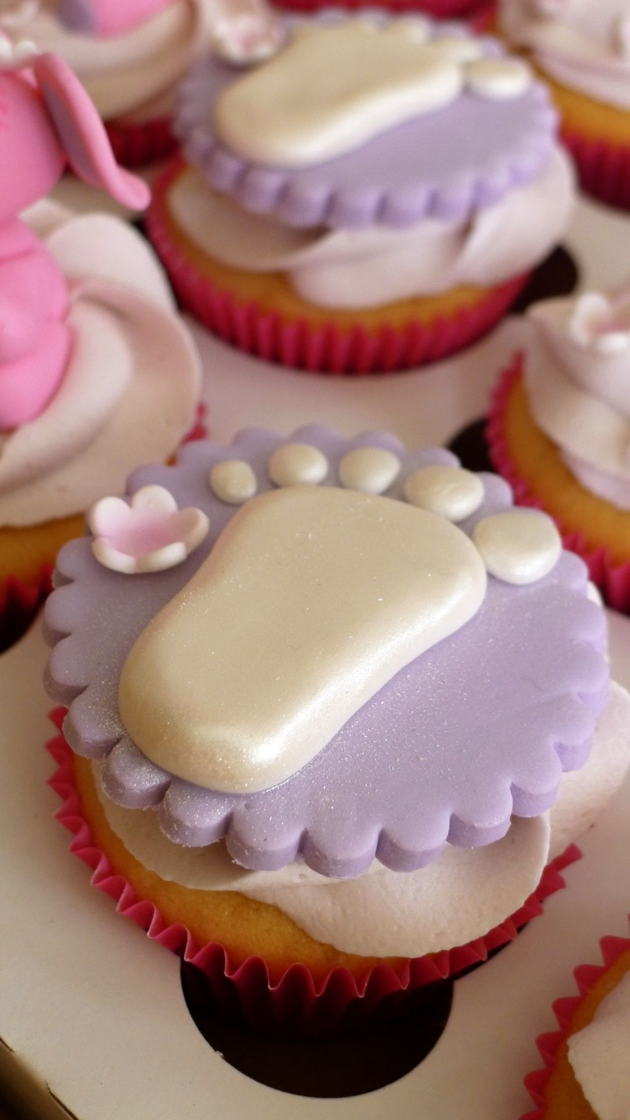 Baby Shower Cupcake - Baby Foot Print on Cake Central