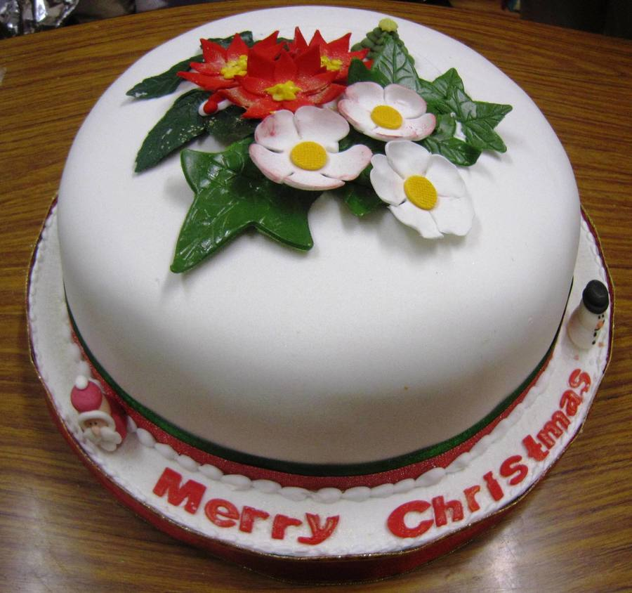 Rich Fruit Cake Covered In Fondant Fantasy Flowers Foliage And