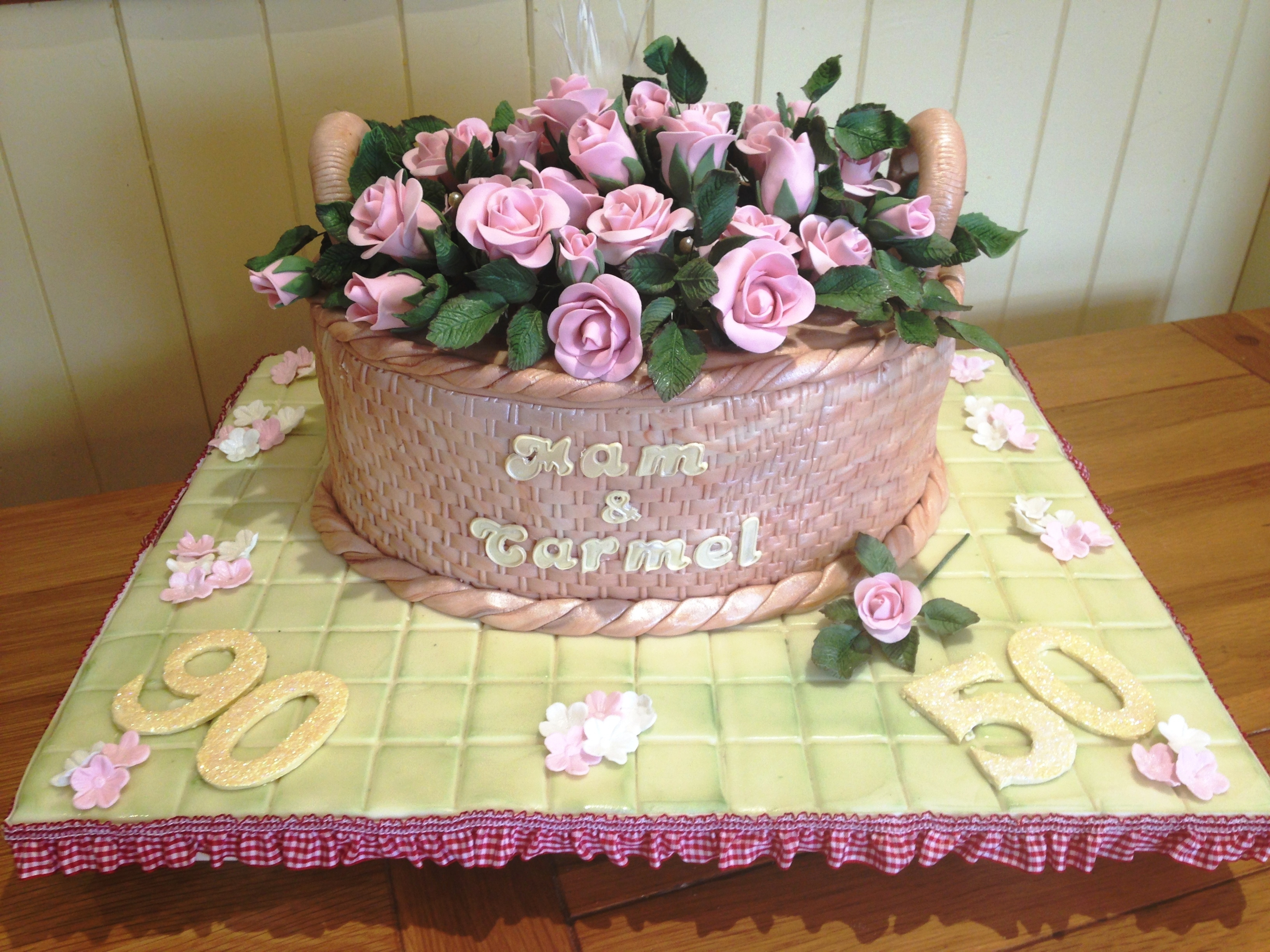 Basket Of Roses 90th 50th Birthday Cake Cakecentral