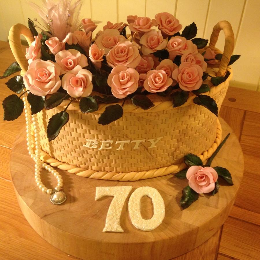 Basket Of Roses 70 Birthday Cake