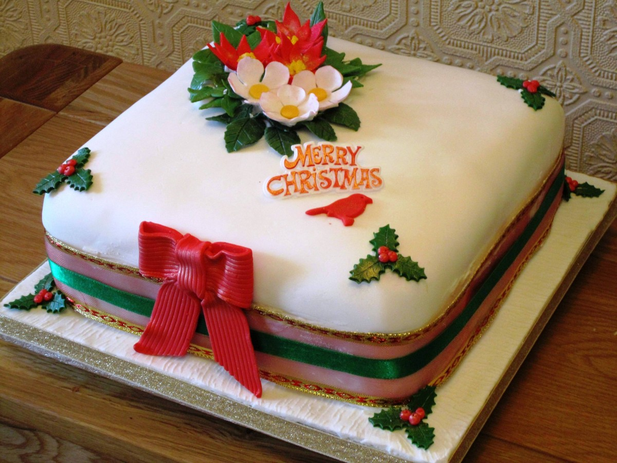 Rectangular Marzipan Christmas Cake Designs