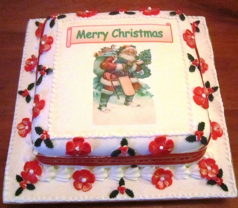 10 Square Rich Fruit Cake Covered In Fondant Fantasy Flowers And Holly Made From Gumpaste Picture Was Scanned Into Pc From Christmas Card on Cake Central