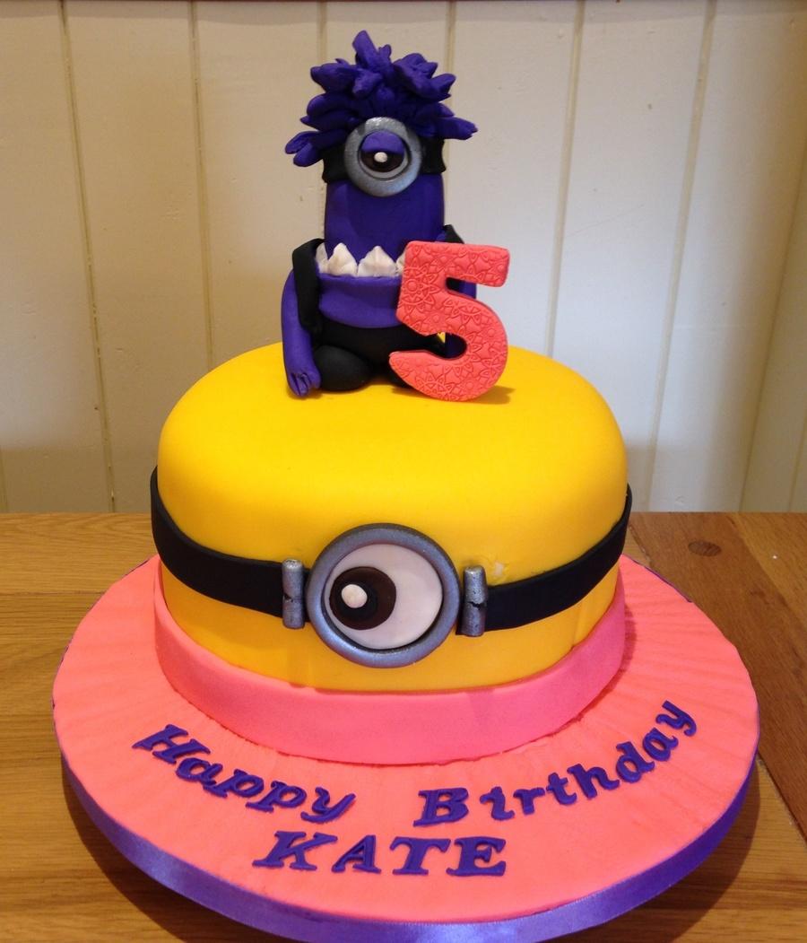 Kates 5th Birthday Cake Purple Minion Yellow Minion Theme
