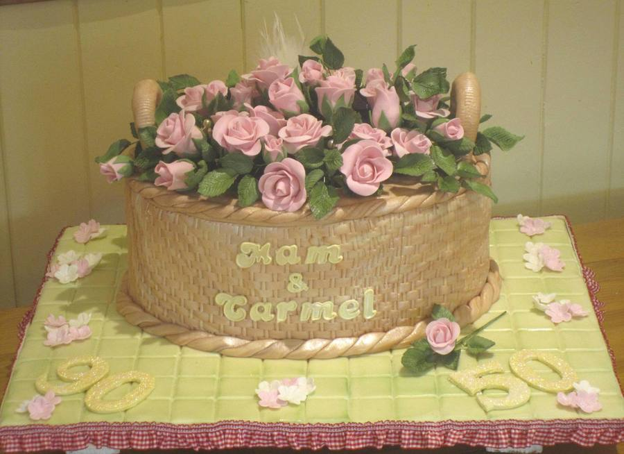 Swell Basket Of Roses 90Th 50Th Birthday Cake Cakecentral Com Personalised Birthday Cards Veneteletsinfo