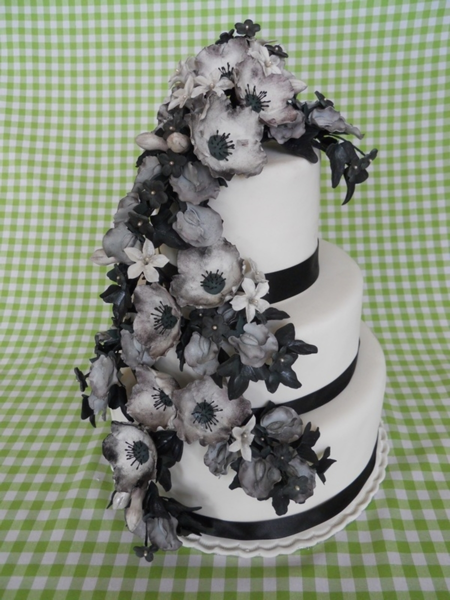 Black and white gumpaste flowers cakecentral black and white gumpaste flowers on cake central mightylinksfo