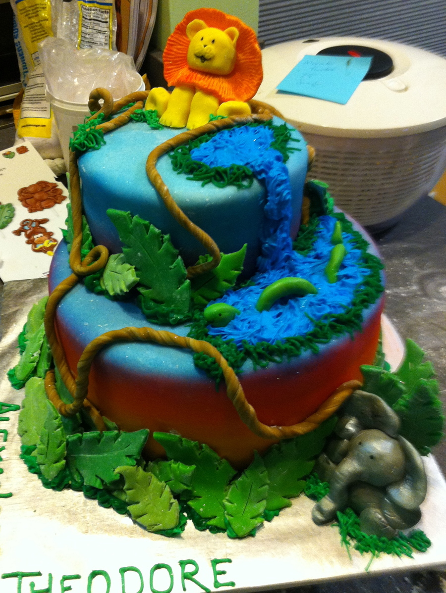 Jungle Theme Baby Shower  on Cake Central