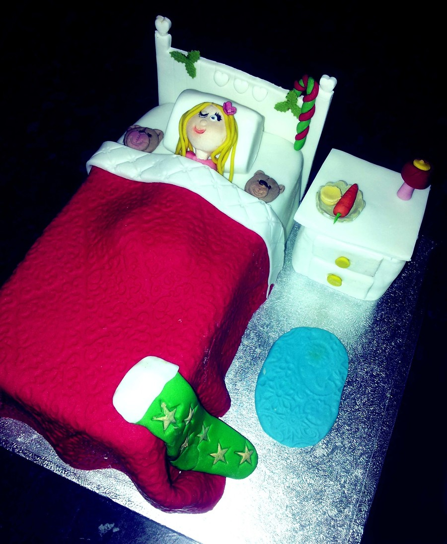 Christmas Eve Bed Cake With The Little Girl Waiting For Santa With Her Mince Pie And Carrot For Rudolph With One Eye Peaking To See Him on Cake Central