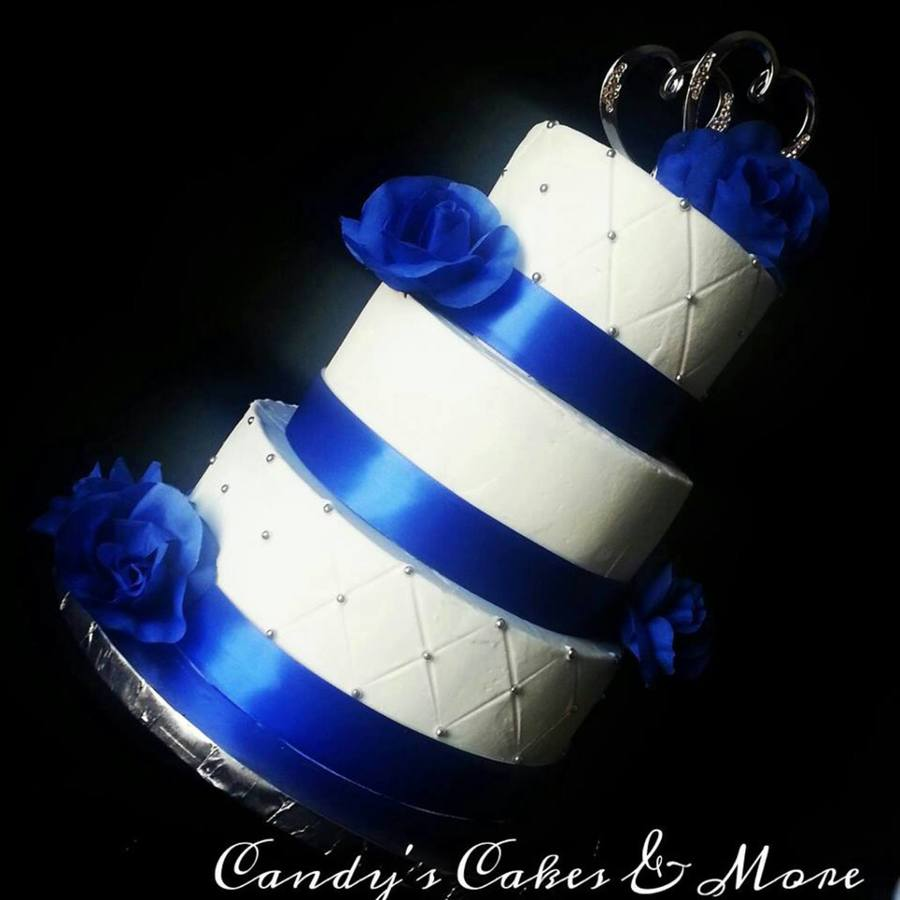 Wedding Cake Ideas Royal Blue: Old School Royal Blue Wedding Cake All Buttercream With