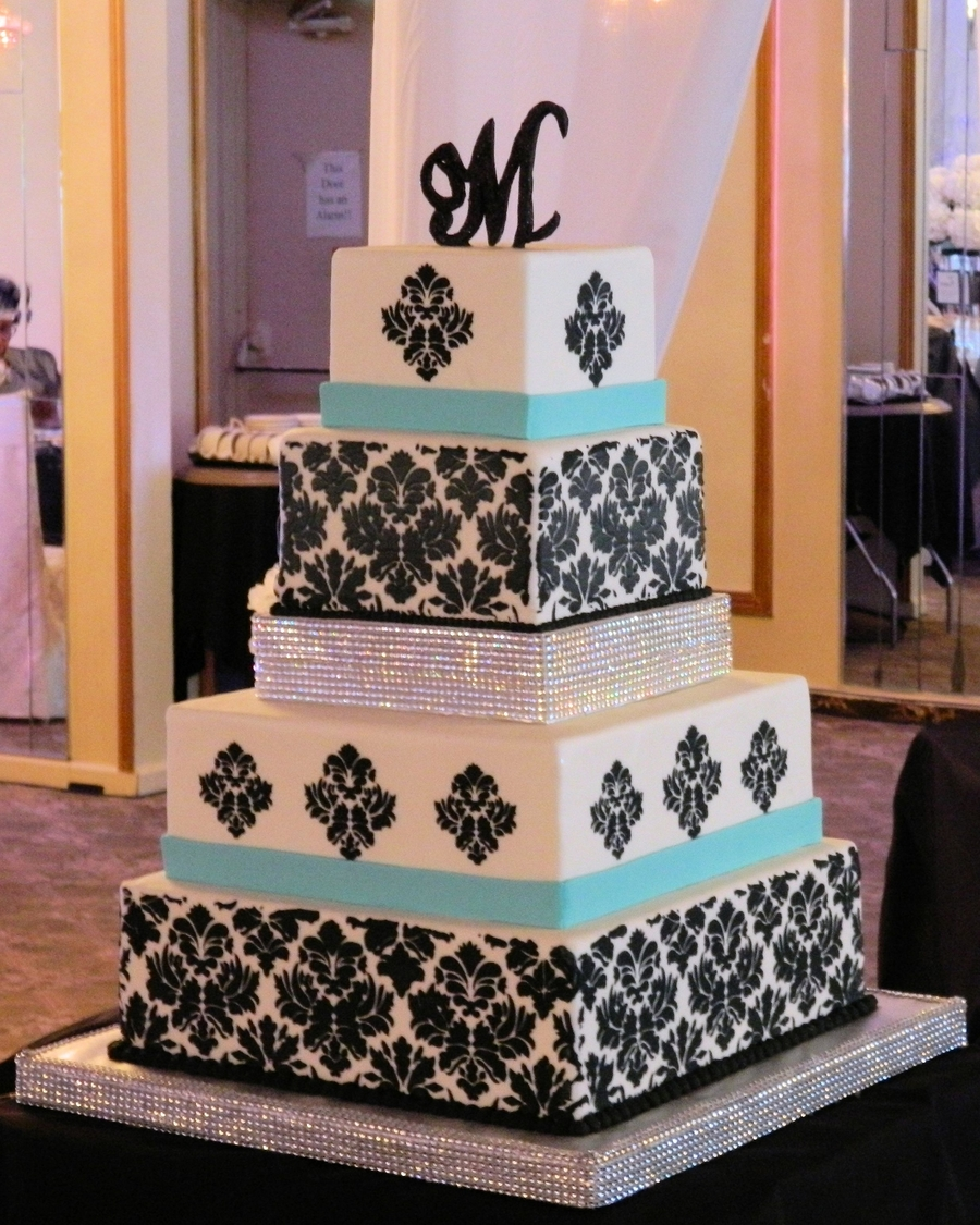 Damask Wedding Cake on Cake Central