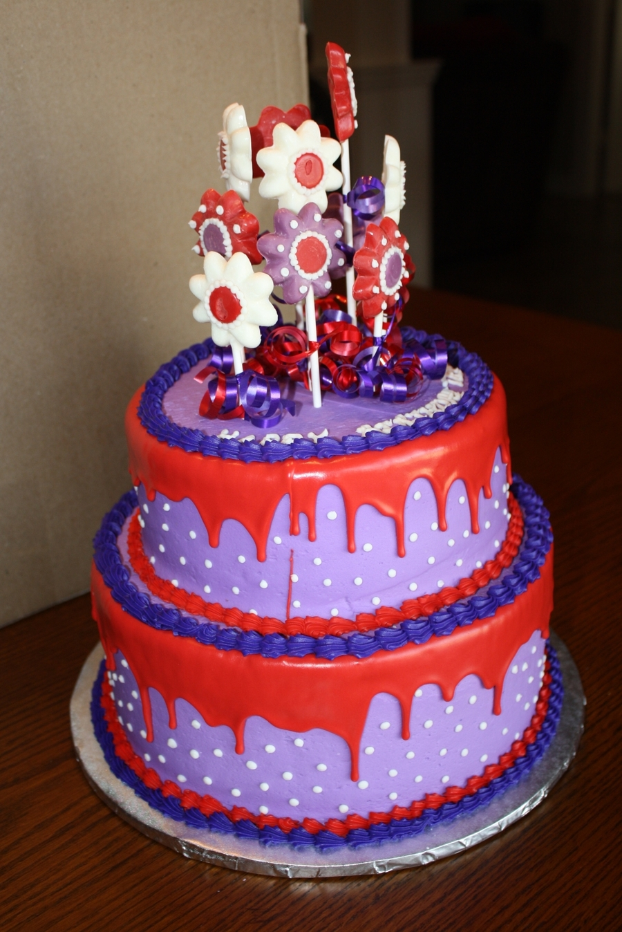 Purple And Red Birthday Cake on Cake Central