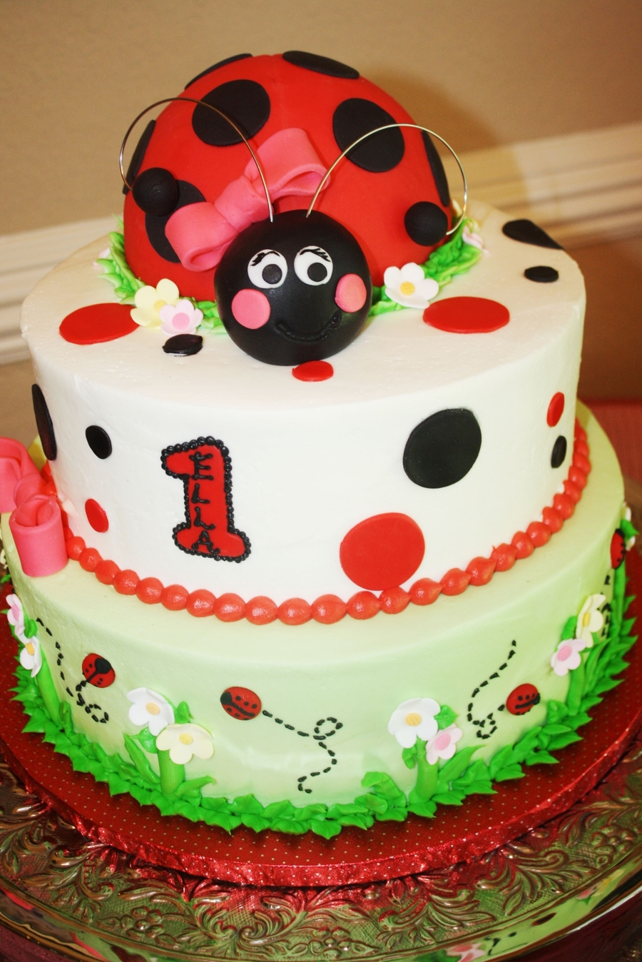 Excellent Ladybug 1St Birthday Cake Cakecentral Com Personalised Birthday Cards Sponlily Jamesorg