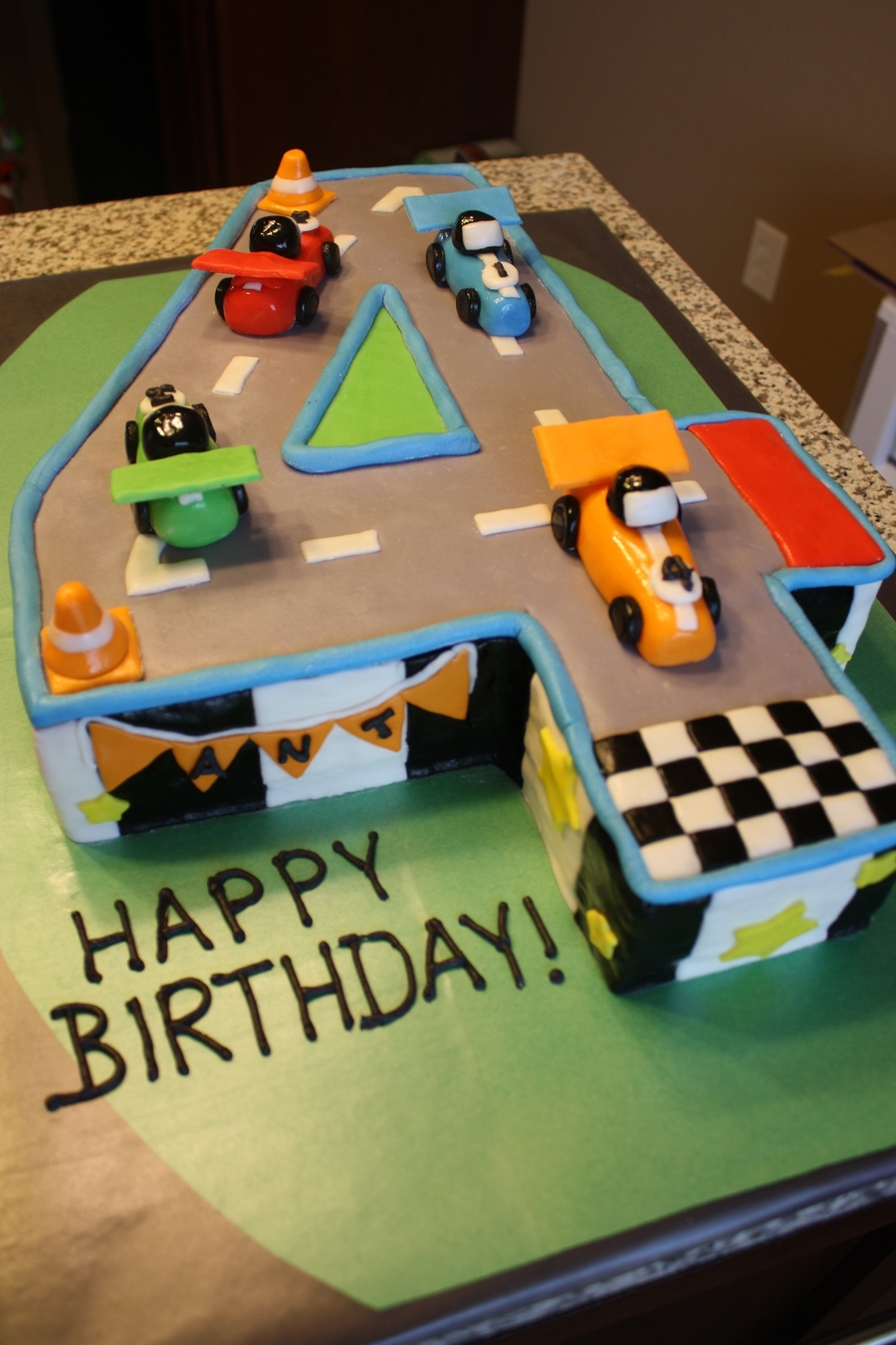 Race Car 4Th Birthday Cake CakeCentralcom