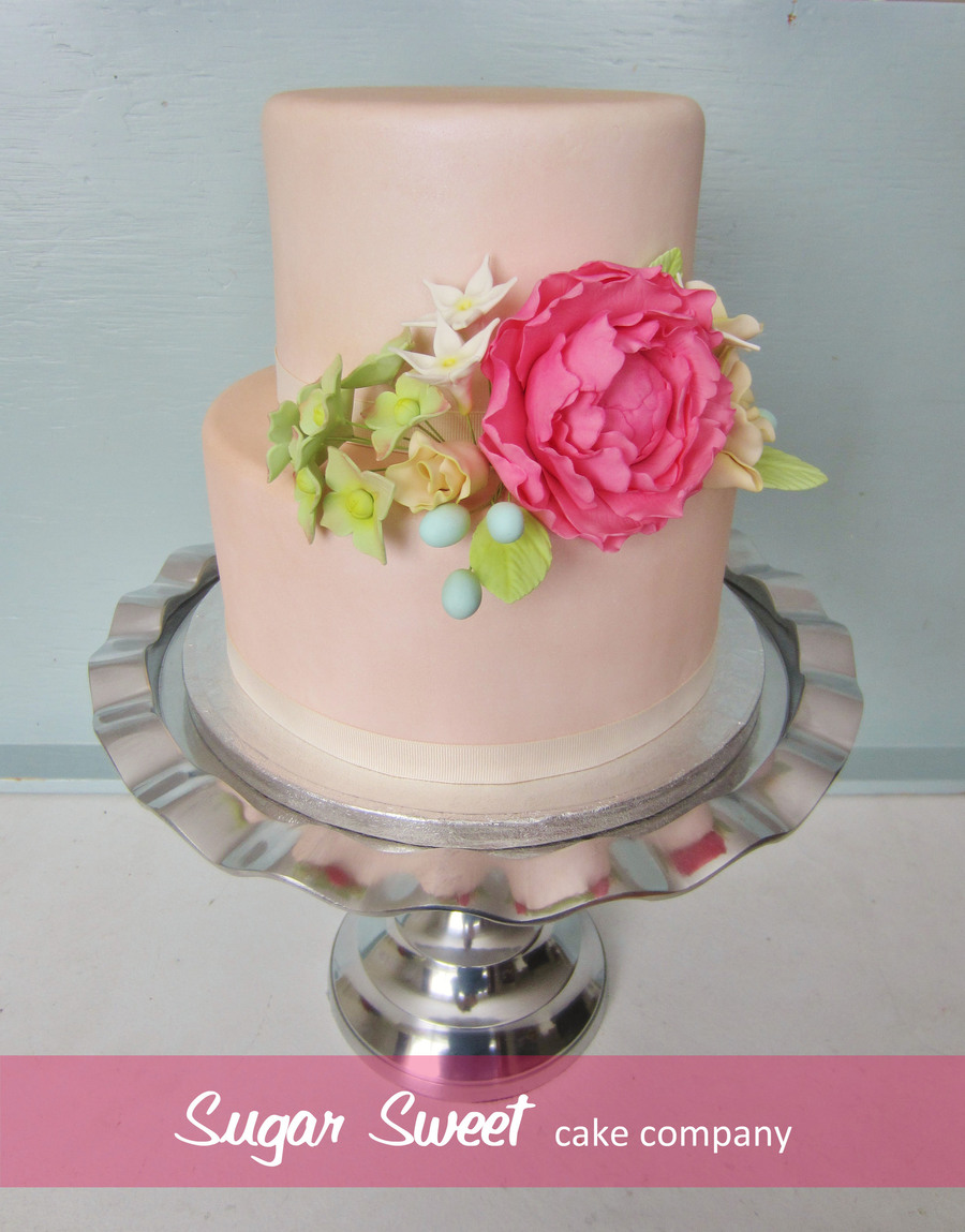Pearlized Round Tiers Handmade Sugar Flowers  on Cake Central