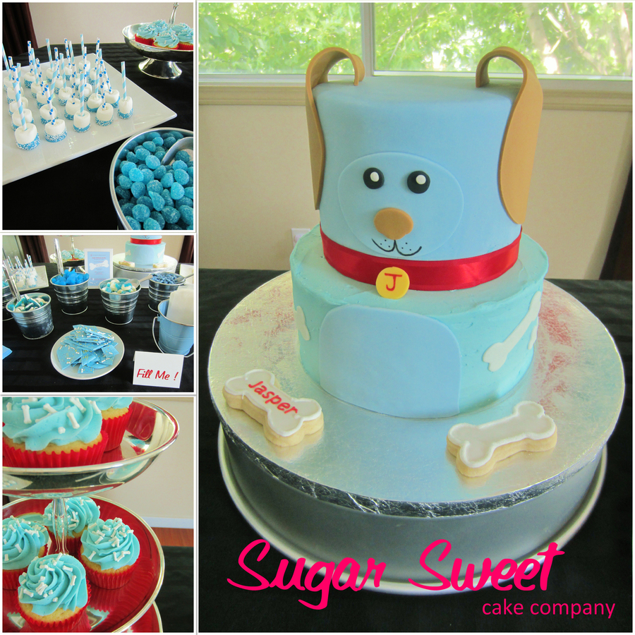 Blue Puppy Themed Baby Shower Cake on Cake Central