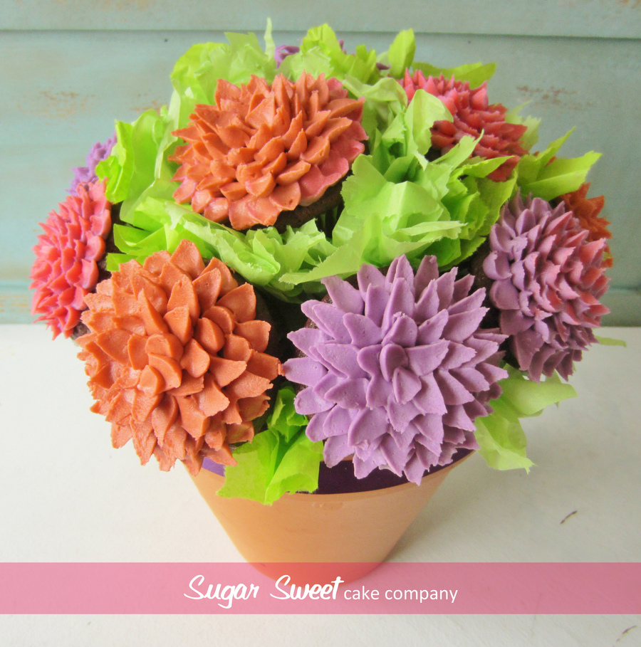 Fall Mum Cupcake Bouquet on Cake Central