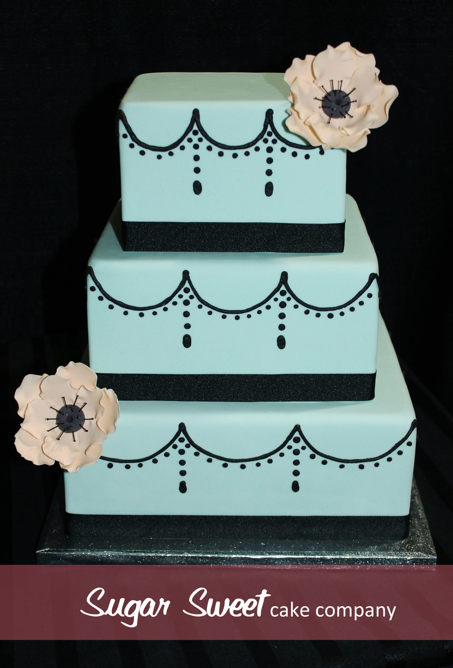3 Tier Light Turquoise Fondant Cake Royal Icing Swags Sugar Anemones on Cake Central