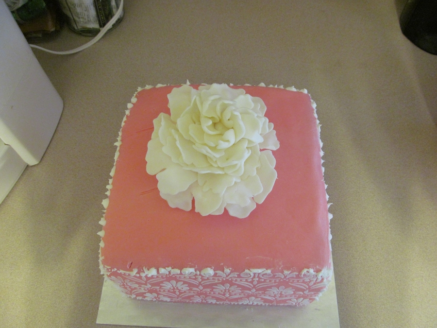 Pink Stencil With Peony on Cake Central