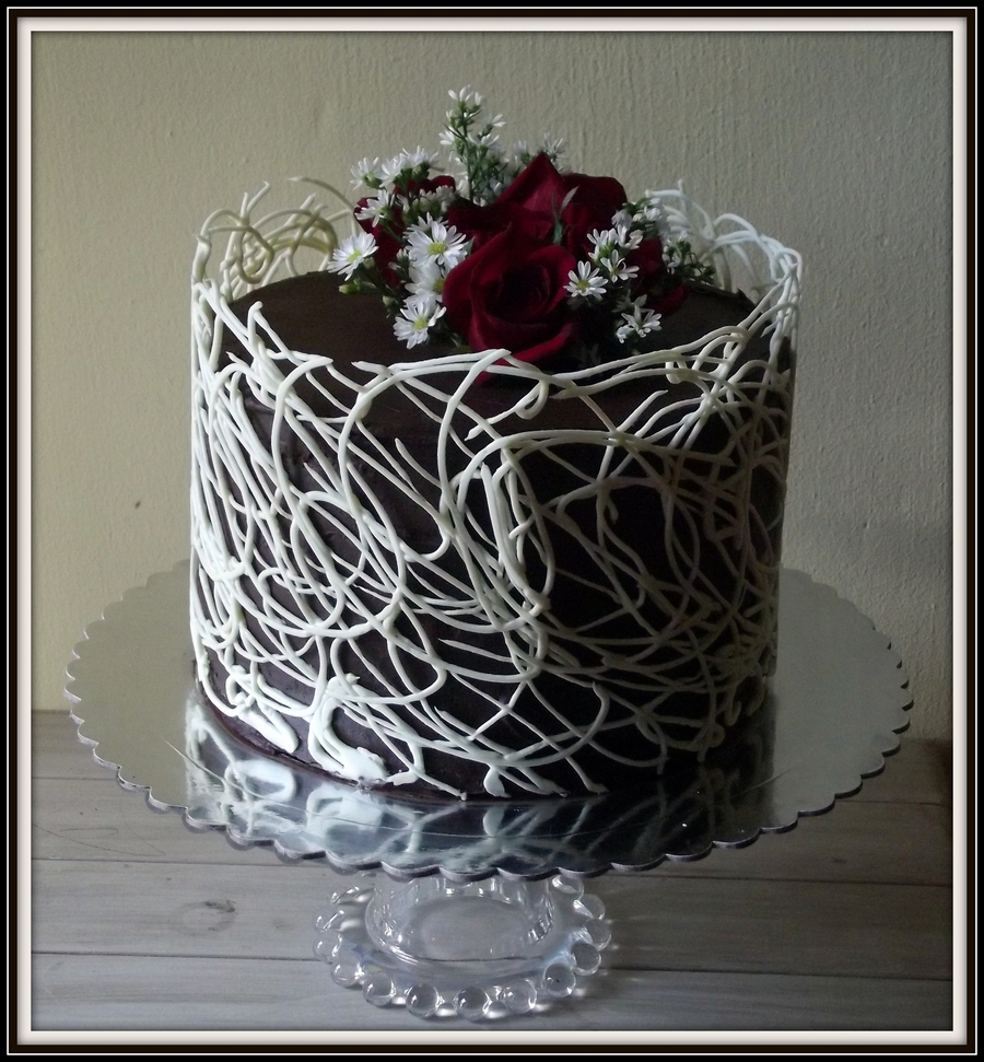 Decorating Cake With Chocolate Shards