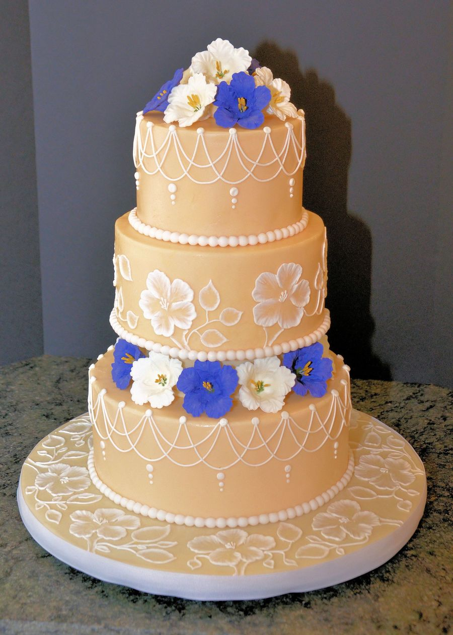 Purple And White Petunia Wedding Cake on Cake Central