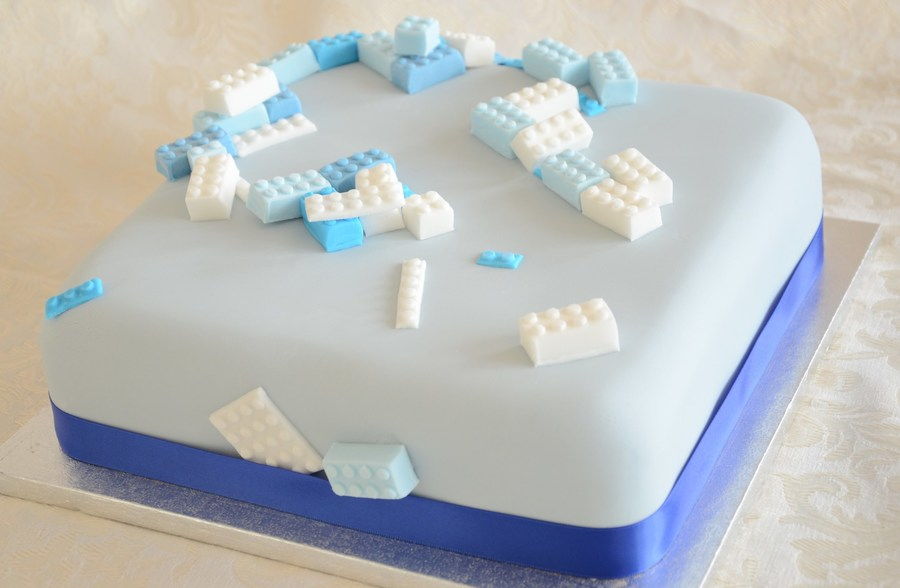 A Little Boys Lego Themed Christening Cake on Cake Central