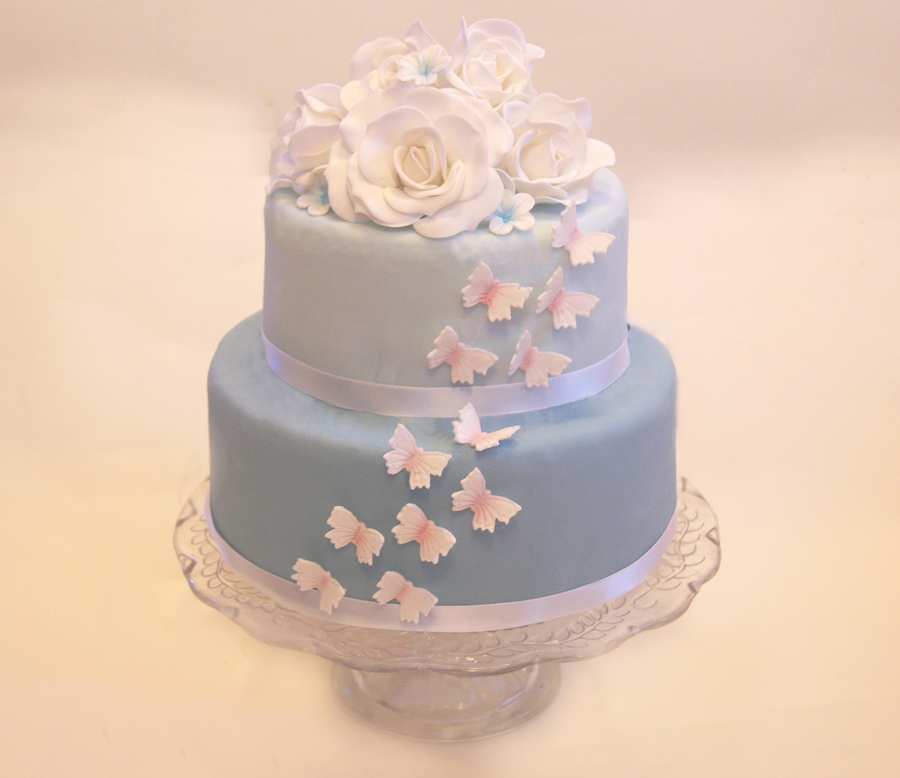 Blue Butterfly And Rose Cake on Cake Central