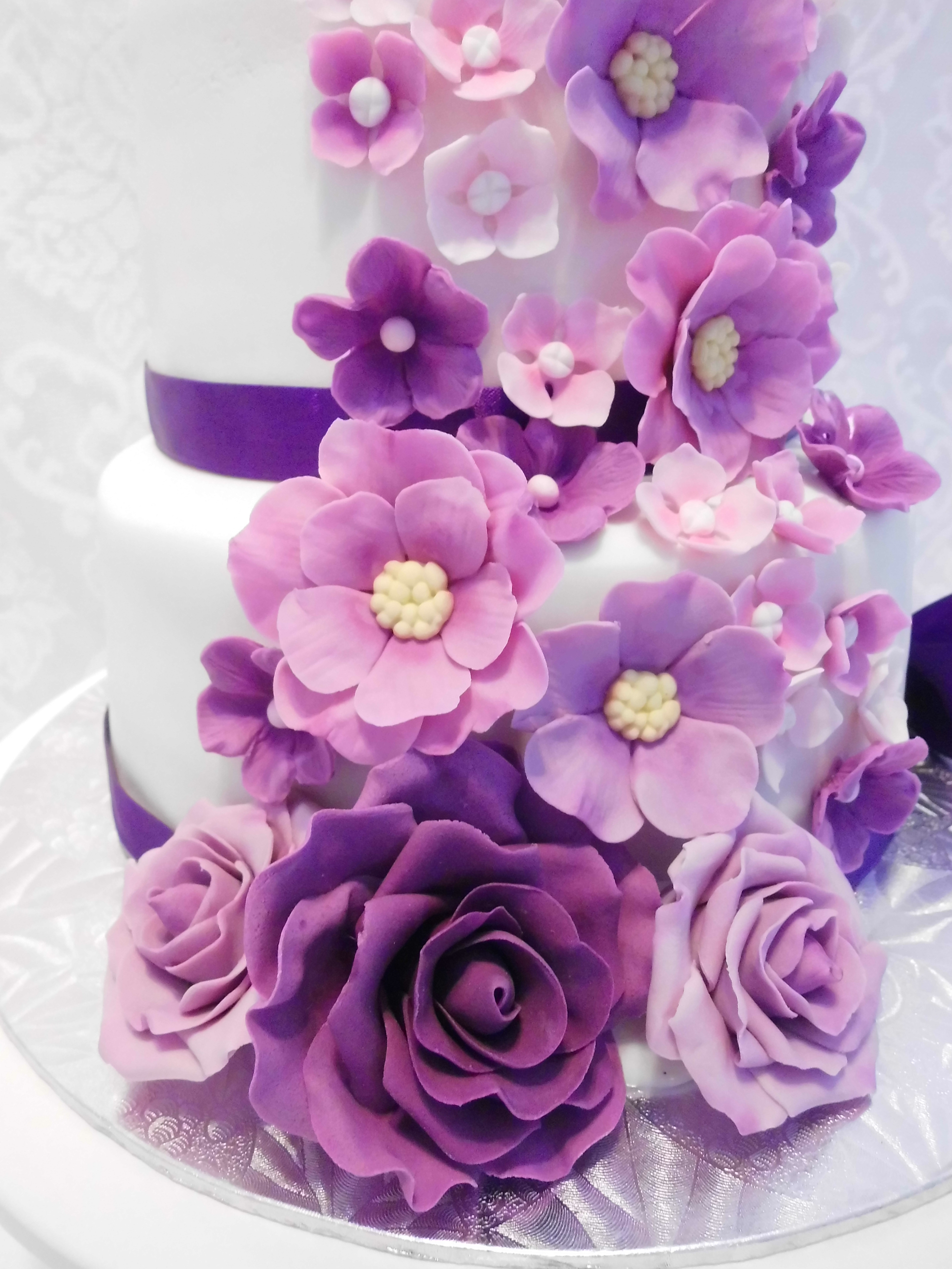 Magnificent Floral Cascade In Purple Pink Mauve Cakecentral Com Funny Birthday Cards Online Elaedamsfinfo