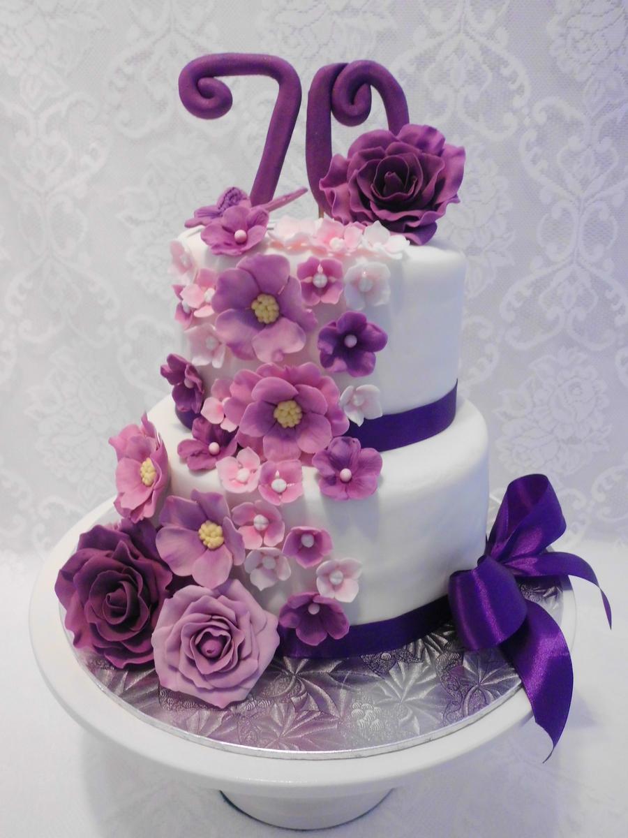 Floral Cascade In Purple Pink Amp Mauve Cakecentral Com