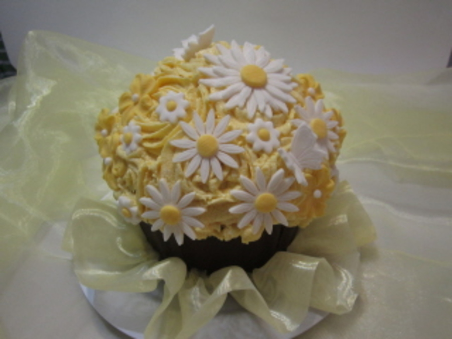 Daisies And Roses Giant Cupcake on Cake Central