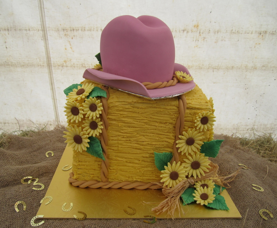 Hay Bale, Cowgirl Hat And Sunflowers Cake on Cake Central