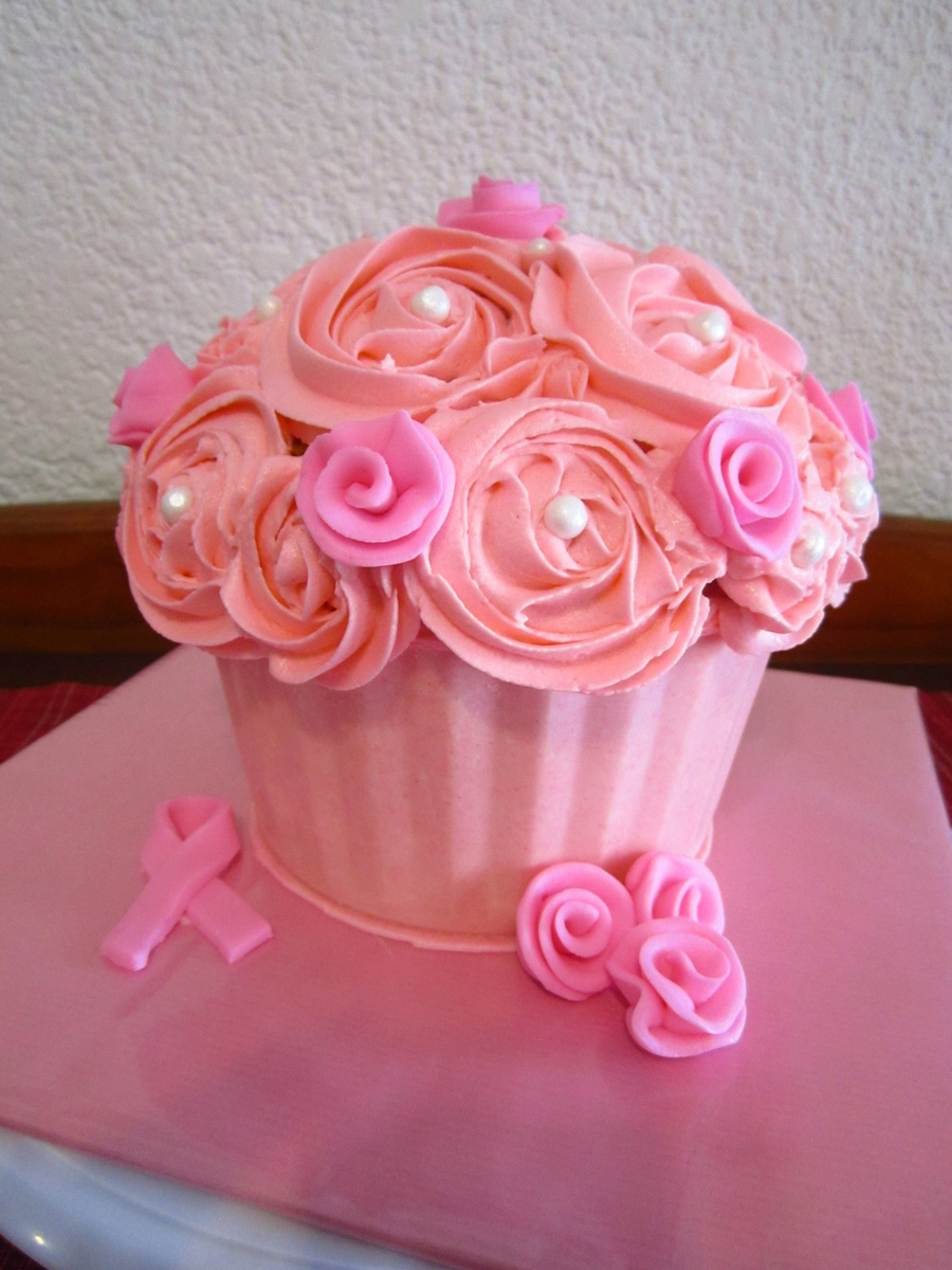Giant Cupcake - Breast Cancer Awareness on Cake Central