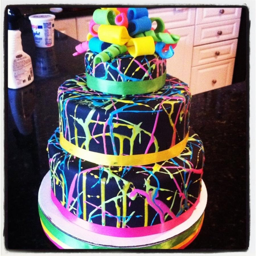 Neon Splatter Cake Cakecentral Com