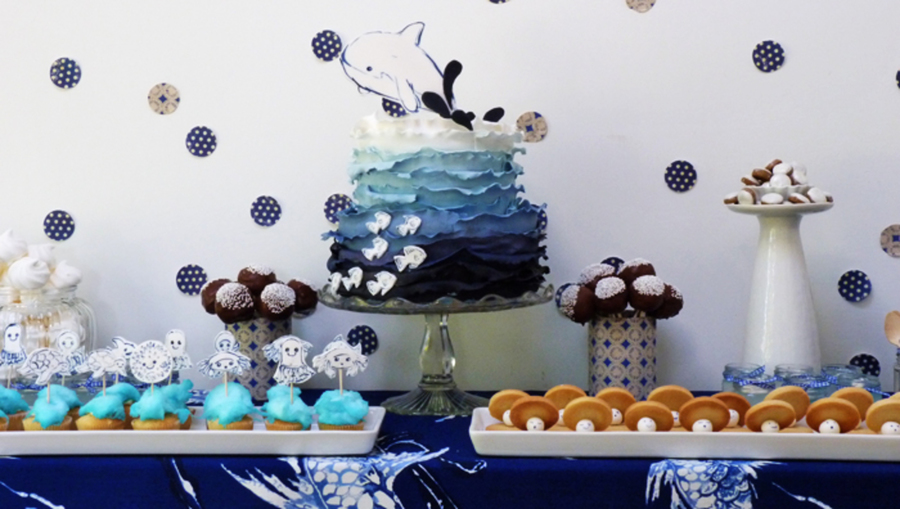 An Underwater Dessert Table You Can See Close Ups On My Blog Httpamelieshouseblogspotcouk201211Underwater Partyhtml  on Cake Central