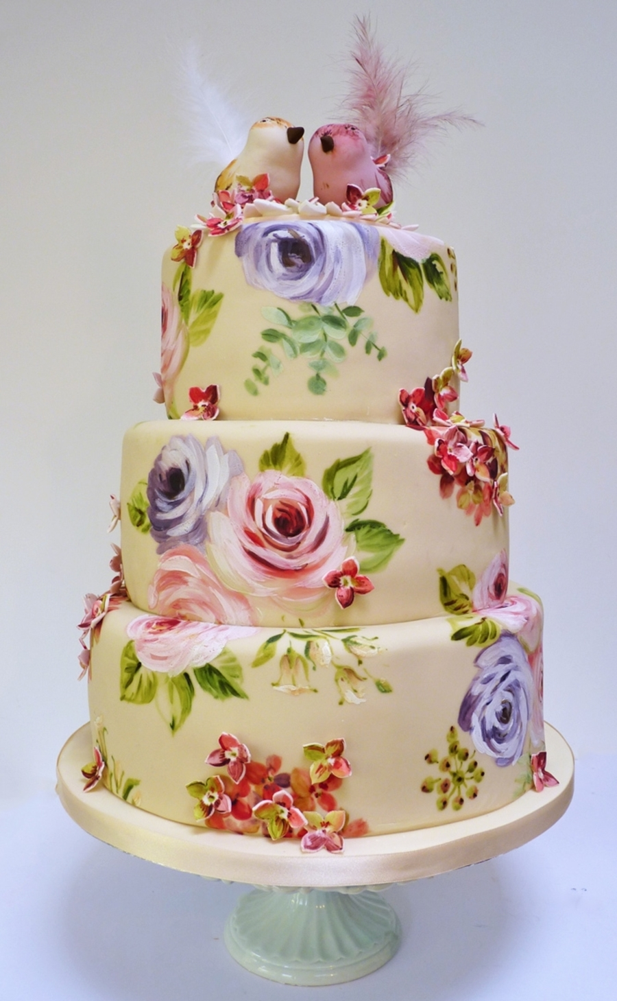 Painted Rose And Hydrangea Cake  on Cake Central