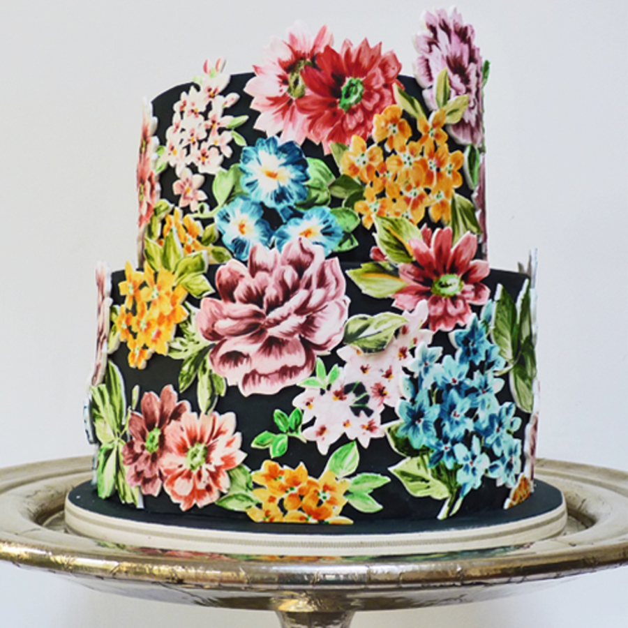This Is A Cake I Have Made For A Wedding This Week The Cake Is Covered With Black Fondant And Then The Flowers Painted Onto White Gumpaste... on Cake Central