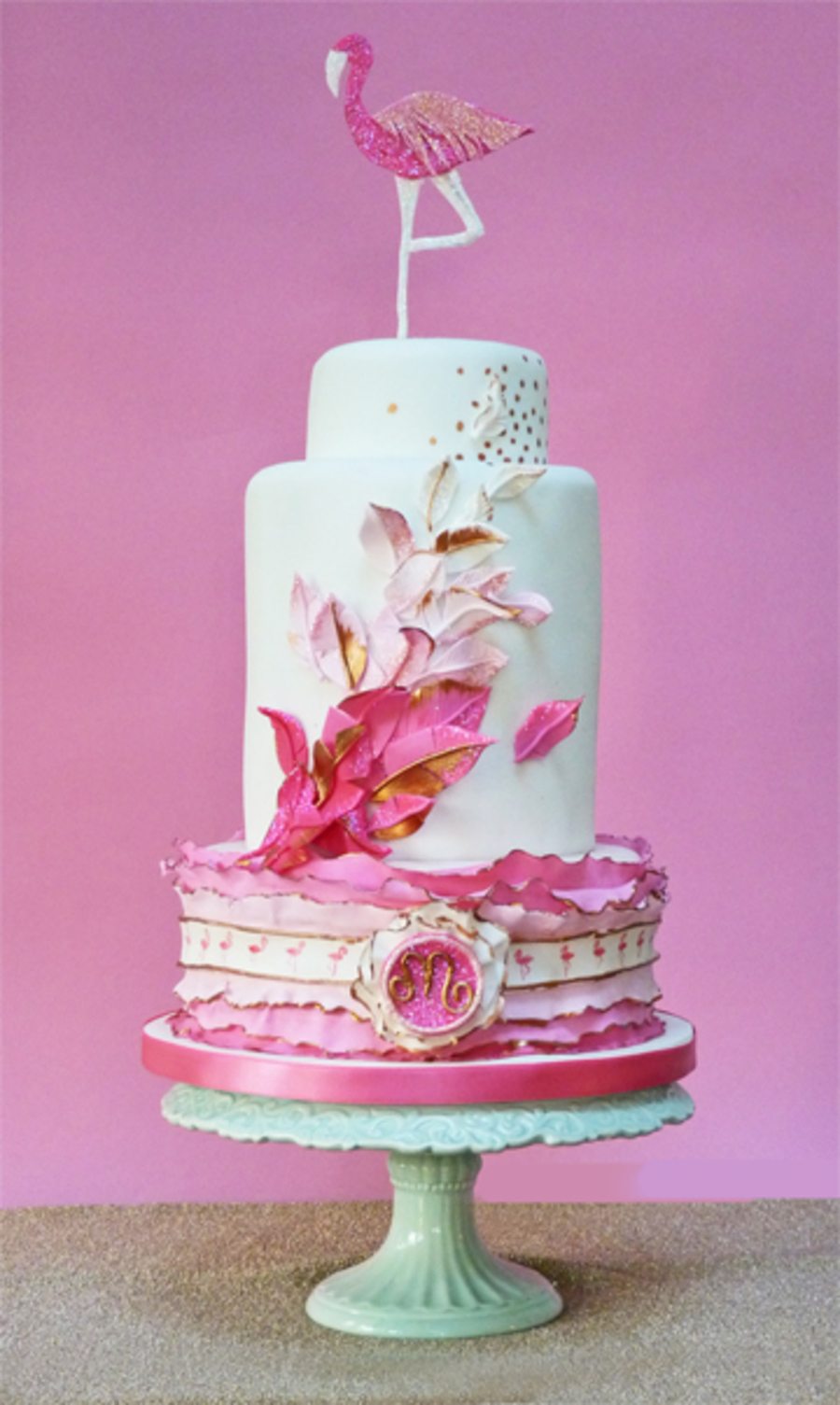 A 40th Birthday Cake With A Flamingo Theme Cakecentral Com
