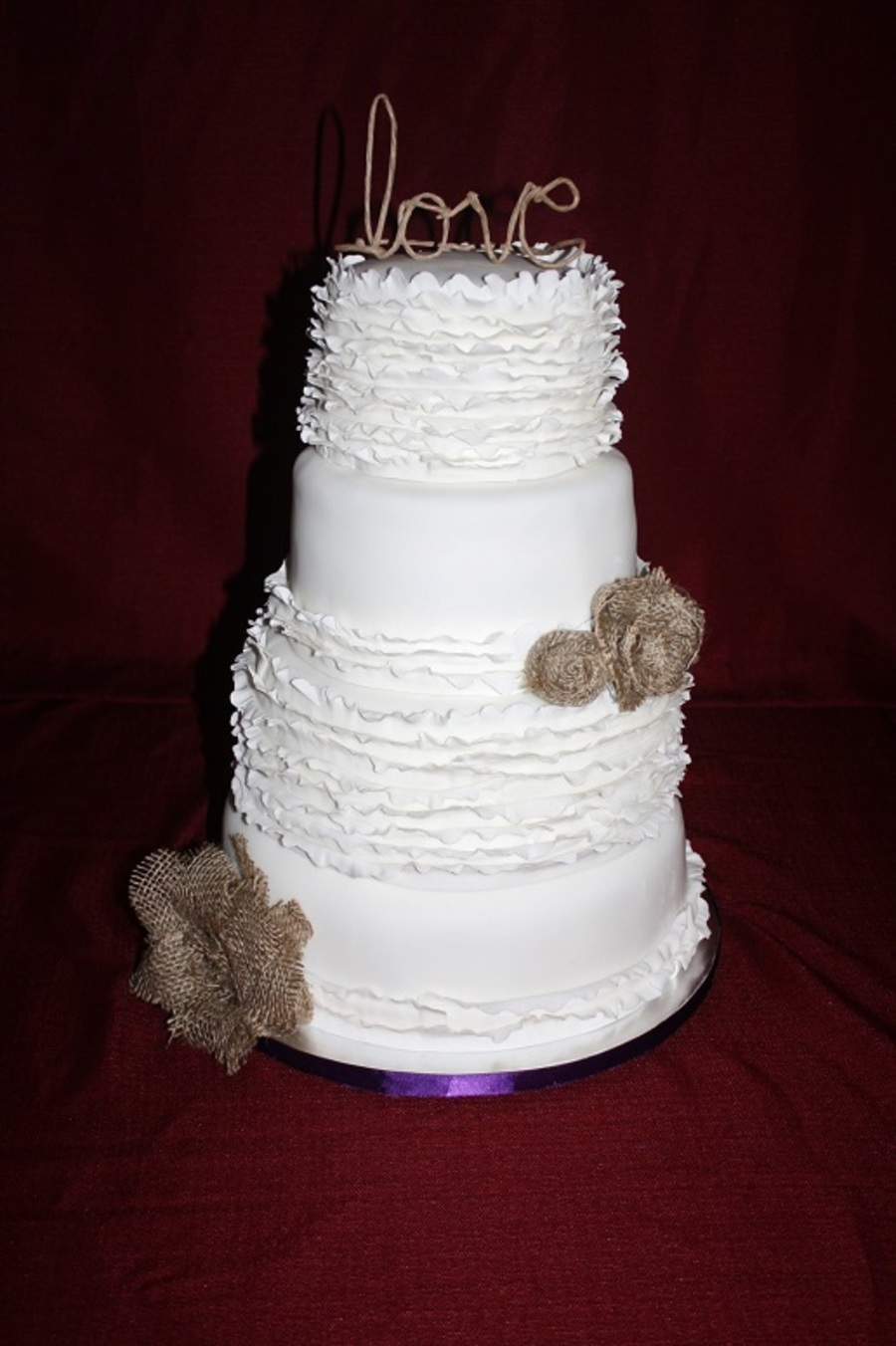 Ruffle And Burlap Wedding - CakeCentral.com