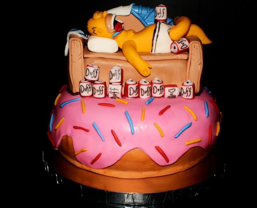 Astounding Homer Simpson Birthday Cake Cakecentral Com Birthday Cards Printable Inklcafe Filternl
