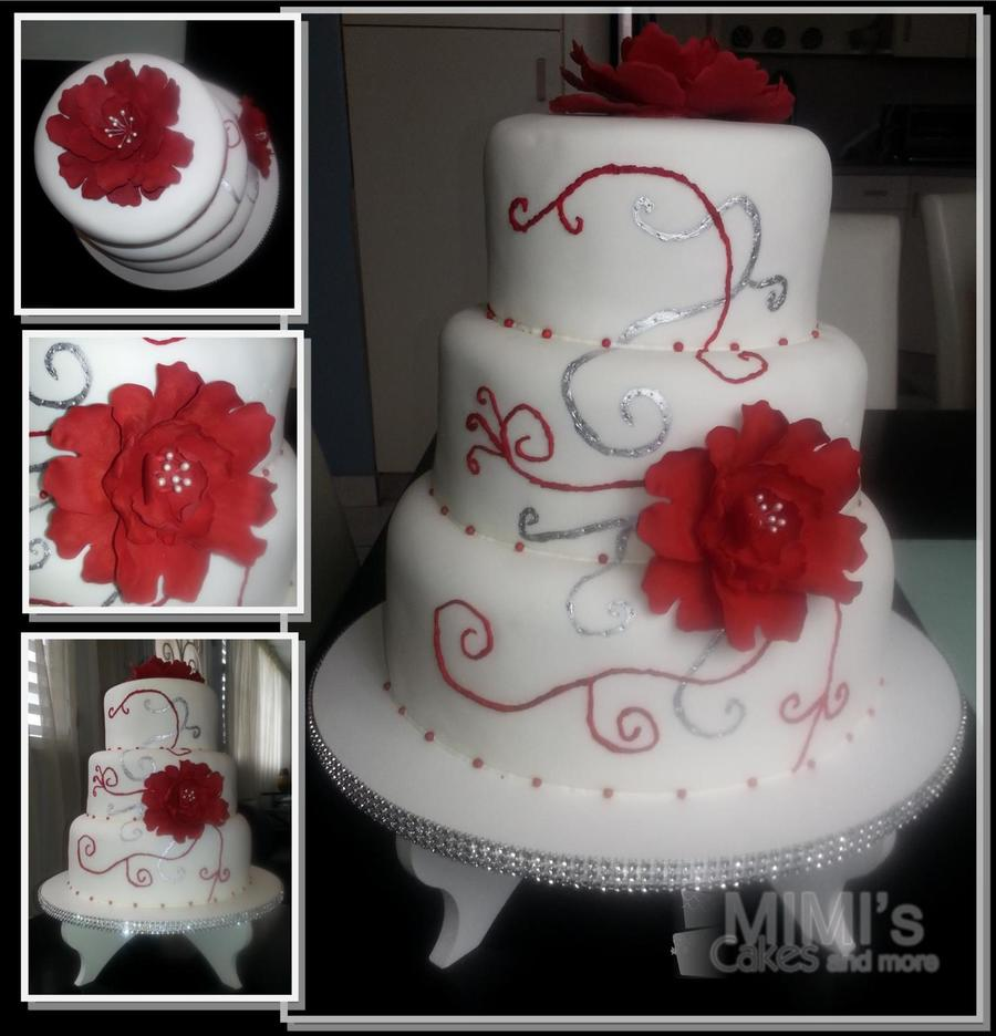 Red, Silver And White Wedding Cake on Cake Central