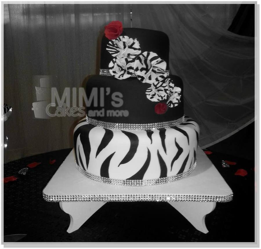 Zebra Themed Wedding Cake on Cake Central