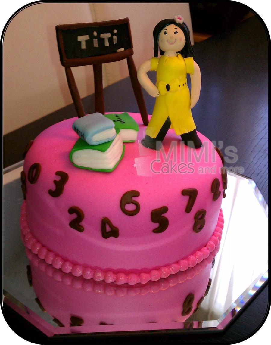 Cake Inspired In Math Teacher Teacher Chalkboard And Books Are Handmade on Cake Central