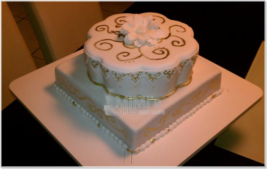 White And Gold Wedding Cake on Cake Central