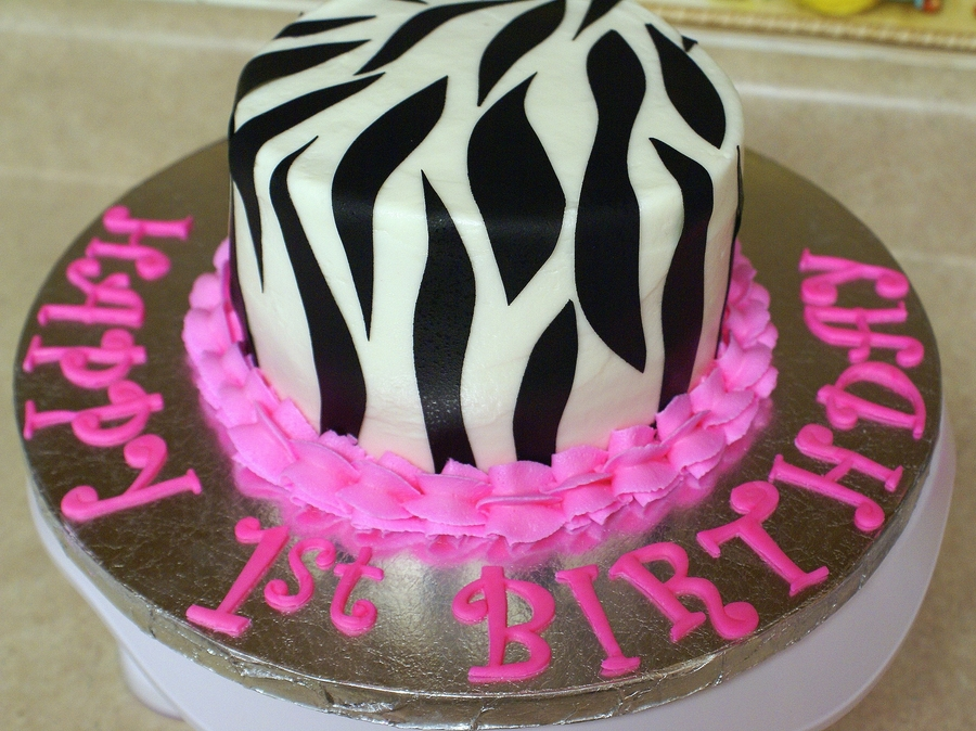 Hot Pink And Zebra Smash Cake on Cake Central
