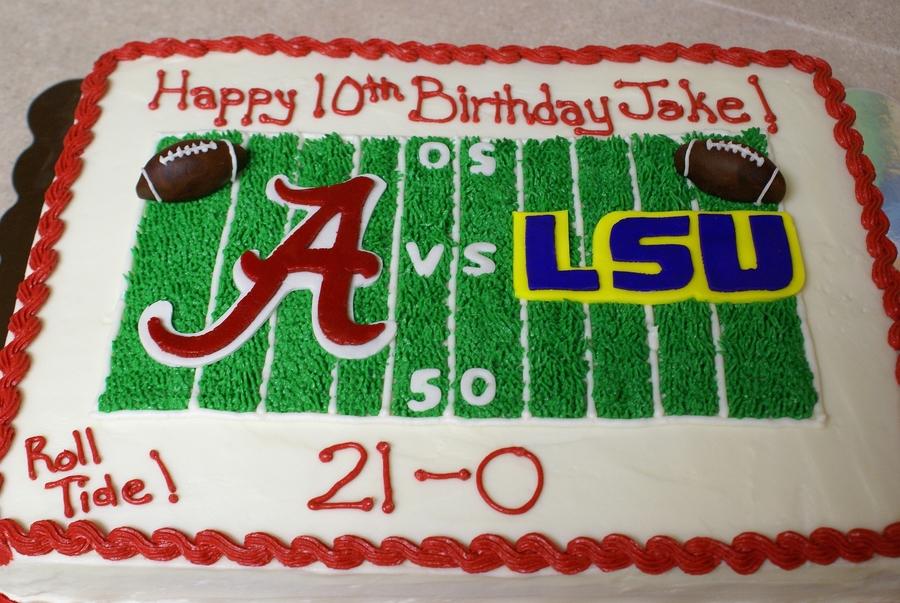 Miraculous Alabama Vs Lsu Cake Cakecentral Com Personalised Birthday Cards Veneteletsinfo